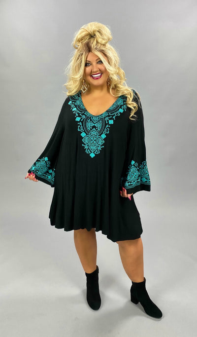 10-01 SD-A {Full Day Ahead} Blue Black Detail Dress EXTENDED PLUS SIZE 4X 5X 6X