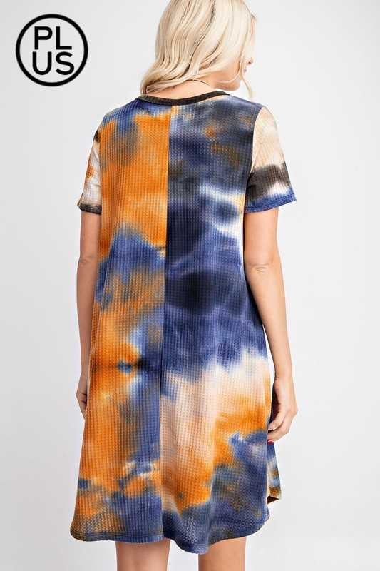 PSS-Y {Last To Love} Blue/Rust Tie Dye Waffle Knit Dress PLUS SIZE 1X 2X 3X