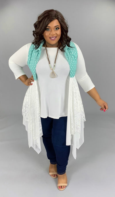 OT-D {Call The Dots} Mint Polka-Dot Lace Vest PLUS SIZE 1X 2X 3X SALE!!