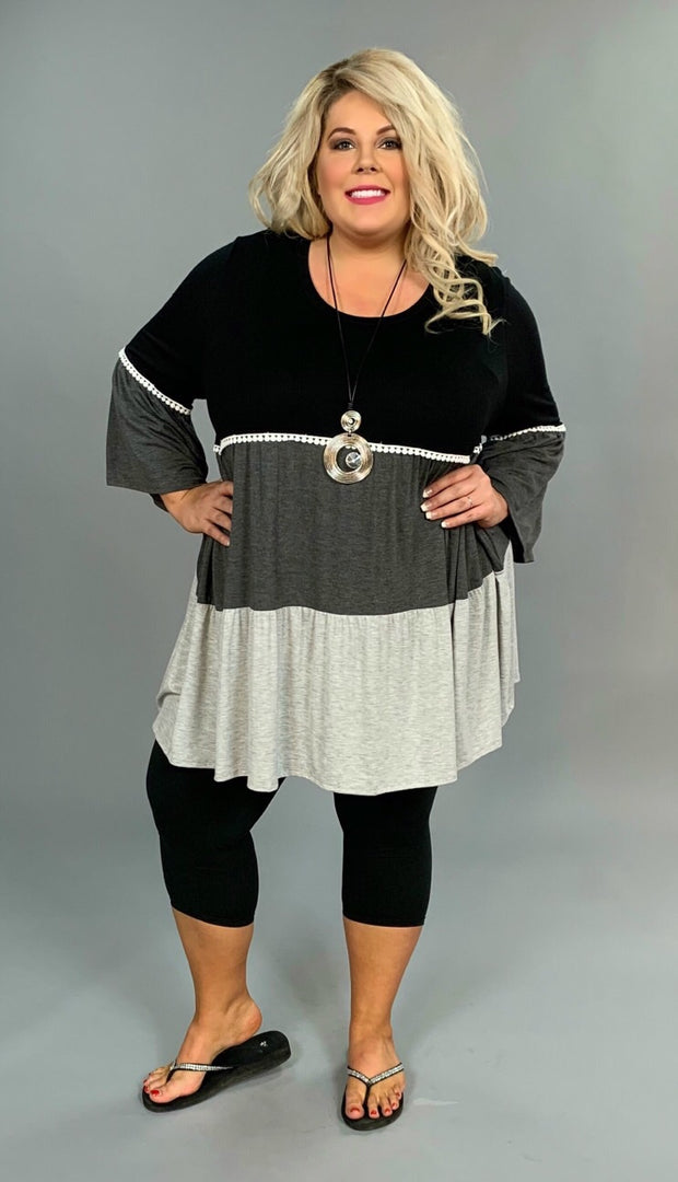 CP-C {Out & About} Black/Gray Bell Tunic Crochet Detail