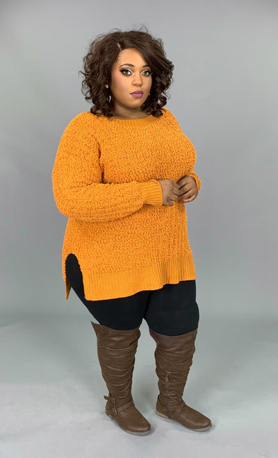 SLS-M {Simple Solution} Ash Mustard Popcorn Sweater SALE!!