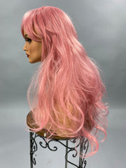 {Pixie} Pink Long Wig With Bangs