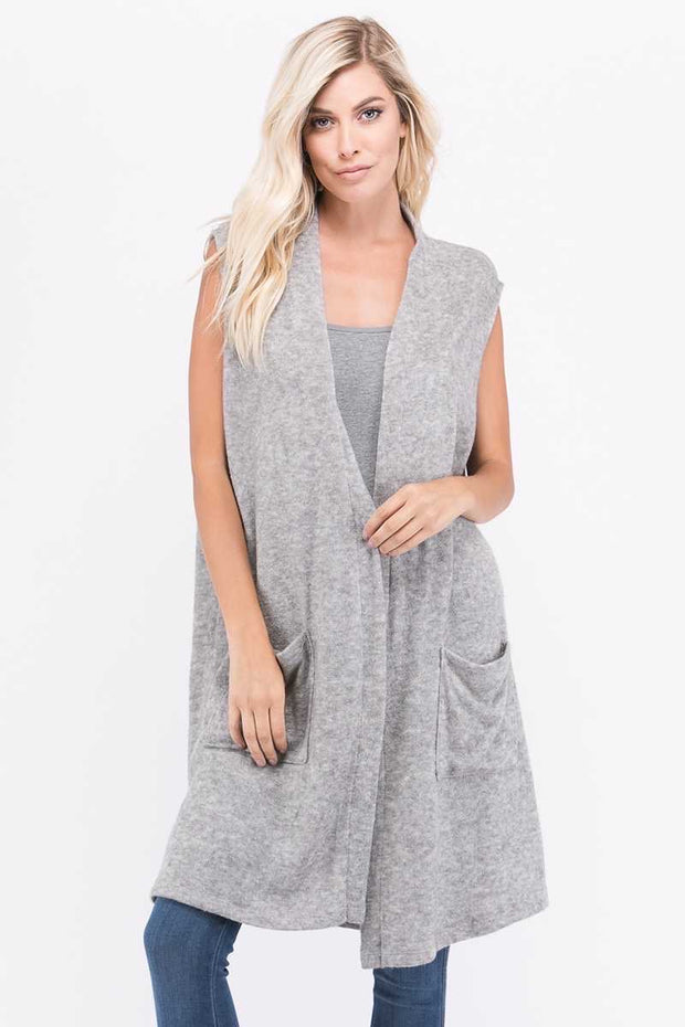 OT-L (Cozy Nights) Grey Soft Knit Vest With Front Pockets EXTENDED PLUS SIZE 1X 2X 3X 4X 5X 6X