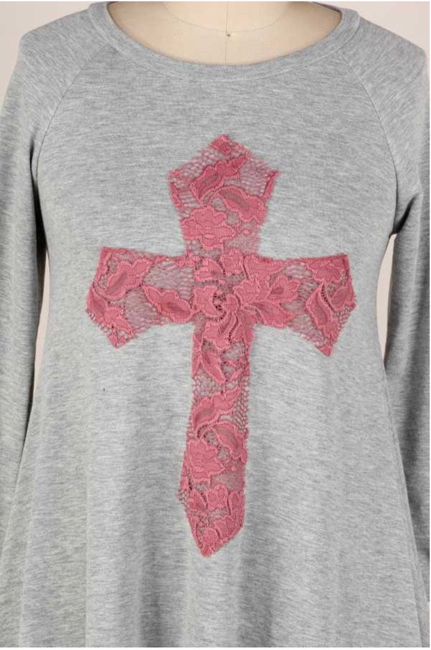 29 GT-C {Don't Cross Me} Grey Pink Cross Detail Top PLUS SIZE XL 2X 3X