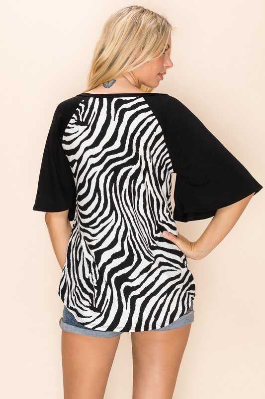 51 CP-A {Think Zebra} Zebra Print w Black Sleeves Plus Size XL 2X 3X