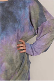 PLS-M {Total Bliss} Blue Green Purple Tie Die Knit Top EXTENDED PLUS SIZE 3X 4X 5X