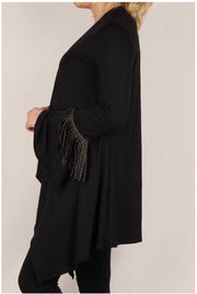 45 OT-B {Double Shot} Black Cardigan With Gold Studded Fringe Plus Size 1X 2X 3X