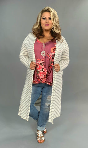 SET- {Hold It Together} Mauve Floral Top & Striped Cardigan