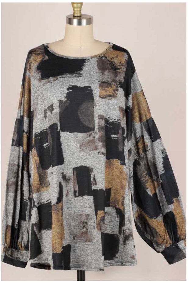 24 PLS-J {Bring Me Back}  SALE!! Grey Yellow Printed Top EXTENDED PLUS SIZE 3X 4X 5X