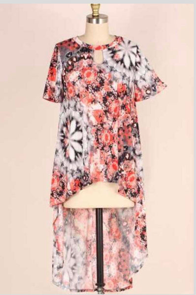 PSS-B {No Going Back} Orange/Gray Printed Keyhole Hi-Lo Tunic