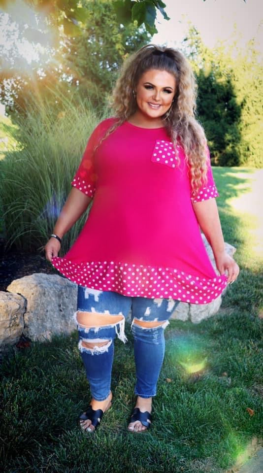 CP-O {Nothing But Smiles} Pink Tunic Polka Dot Details CURVY BRAND EXTENDED PLUS SIZE 3X 4X 5X 6X SALE!!