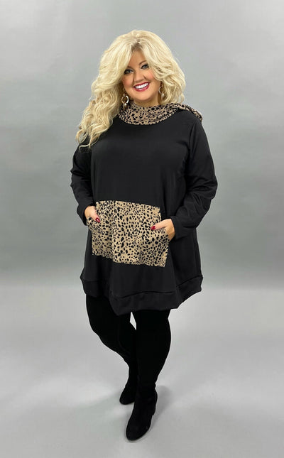 36 HD-D {Living It Up}  SALE!! Black Mocha Animal Hoodie CURVY BRAND EXTENDED PLUS SIZE 3X 4X 5X 6X