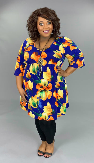 PQ-B (The Sweetest Song) Royal V-Neck Tunic With Floral Print PLUS SIZE 1X 2X 3X