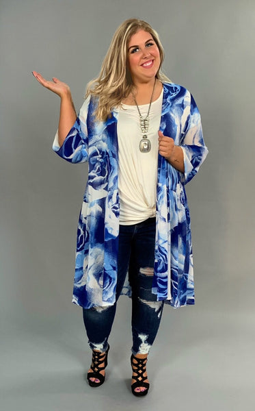 OT-N {Fanciful World} Blue & White Floral Print Cardigan