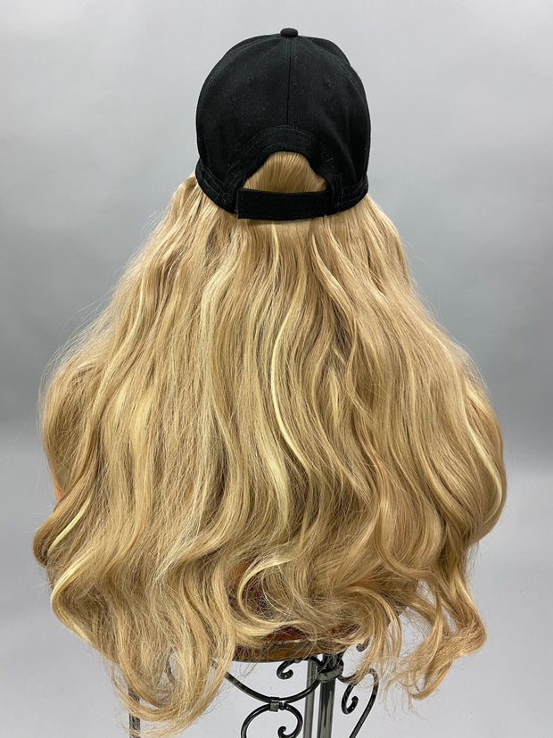 {Vicki} Dark Blonde Black Baseball Hat Wig