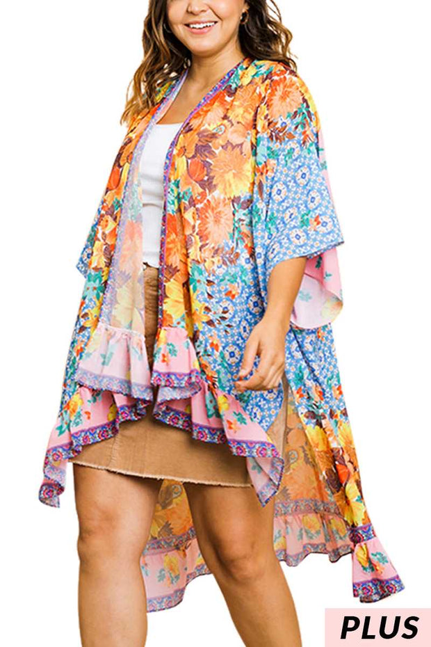 65 OT-L {Cruising The Keys} UMGEE Pink Blue Floral Cardigan PLUS SIZE XL 1X 2X