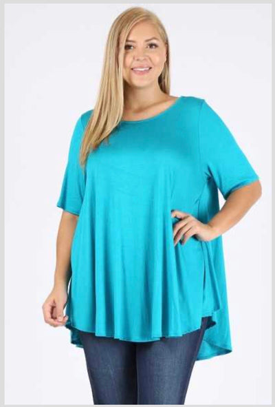 SSS-C (A Must Have) Turquoise Tunic With Rounded Hem EXTENDED PLUS 3X 4X 5X
