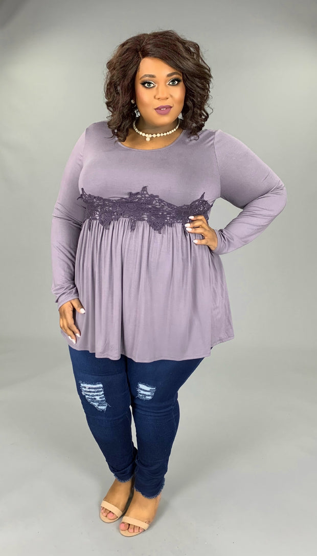 SD-T {True Love Story} Lilac Grey Tunic with Crochet Detail
