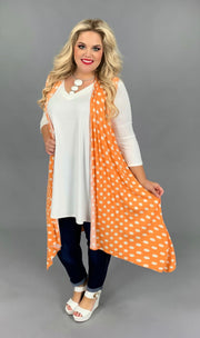 OT-S {Orange Crush} Orange Polka-Dot Vest PLUS SIZE 1X 2X 3X