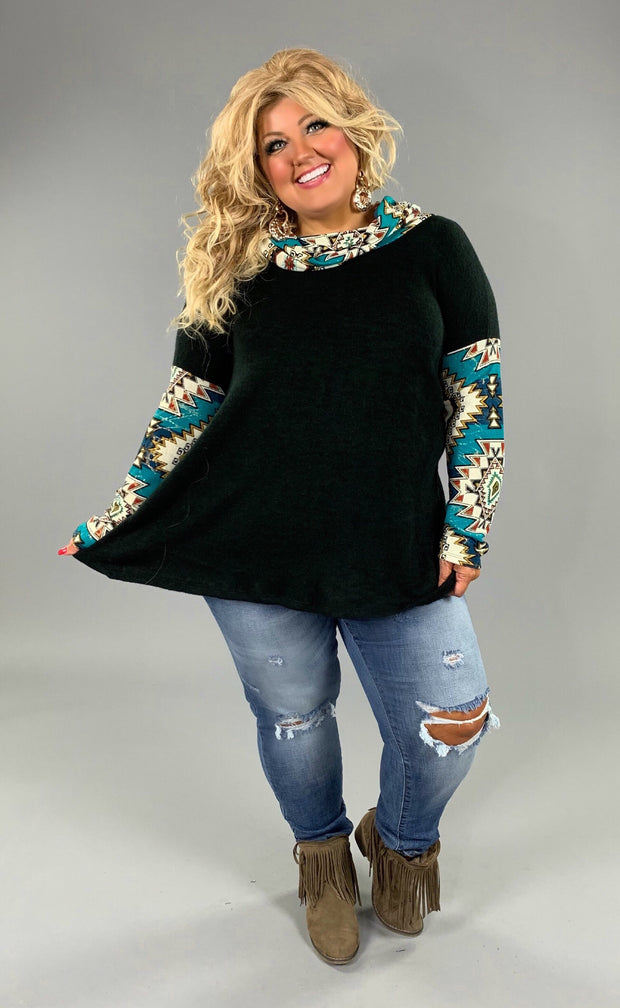 CP-V Black Stretchy Knit Top with Teal Aztec Contrast