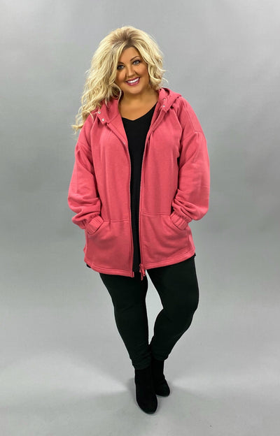 OT-Q {Comfy Chic} SALE!! ROSE Hoodie Jacket with Full Zipper PLUS SIZE 1X 2X 3X