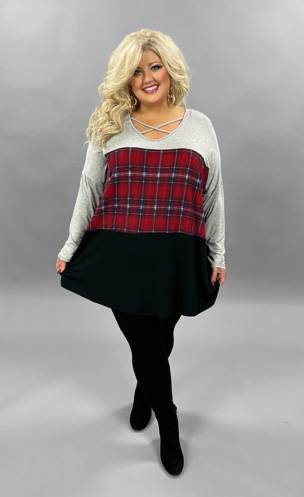 32 CP-C {Gift Giving}  SALE!! Grey Red Plaid Black Cross Neck Tunic CURVY BRAND EXTENDED PLUS SIZE 3X 4X 5X 6X