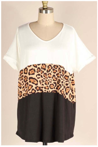 49 CP-C {Somethin' To Talk Bout} Ivory Leopard Black Contrast Top EXTENDED PLUS SIZE 4X 5X 6X