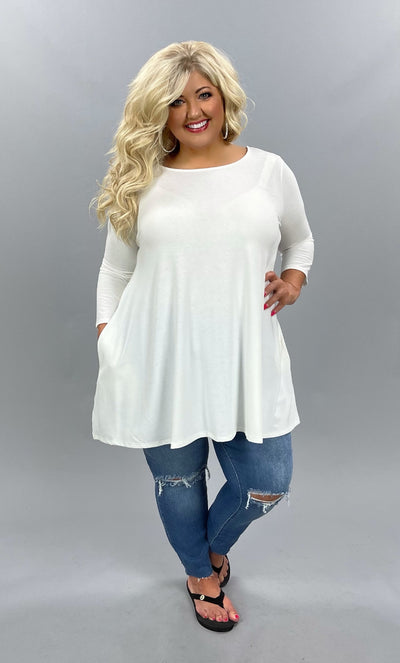 62 SQ-W {Looking My Way} Ivory Tunic With Pockets PLUS SIZE XL 2X 3X