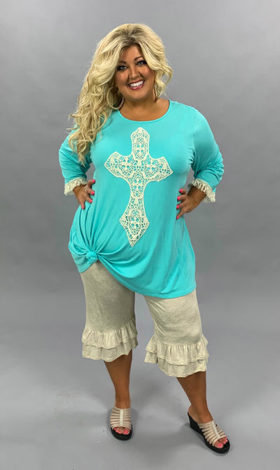 GT-I {Most Loved} SALE!! Mint 3/4 Sleeve Tunic W/Crochet Cross EXTENDED PLUS SIZE 3X 4X 5X 6X Curvy Brand