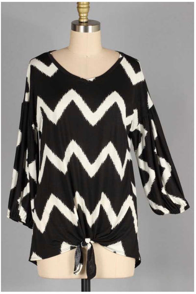 54 PQ-C {Living In Harmony}  Black & White Chevron Print Tunic Extended Plus Size 4X 5X 6X