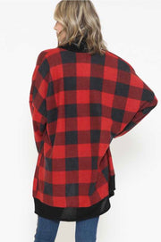 11-14 OT-B {Out To Play} Red Black Plaid Cardigan PLUS SIZE XL 2X 3X