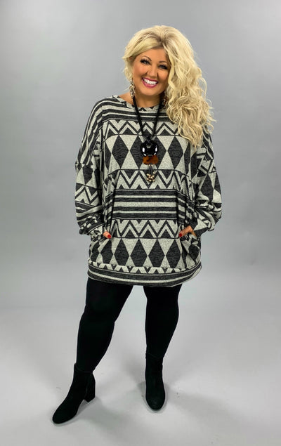 PLS-Z {Simply Stated} Grey & Black Aztec Print Knit Tunic EXTENDED PLUS SIZE 3X 4X 5X