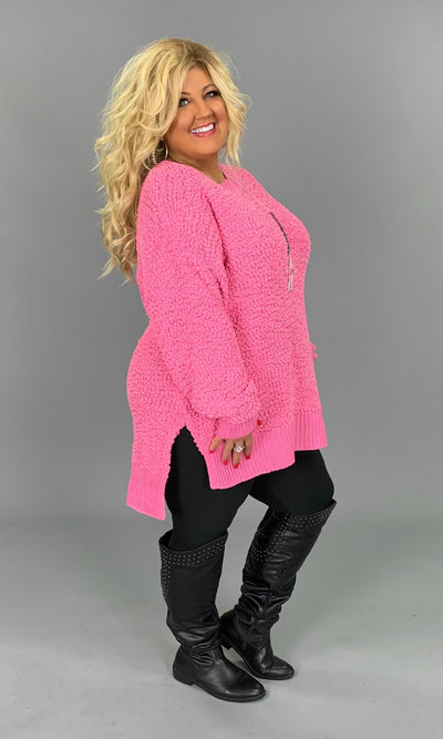 SLS-W {Simple Solution} Candy Pink Popcorn Sweater SALE!!