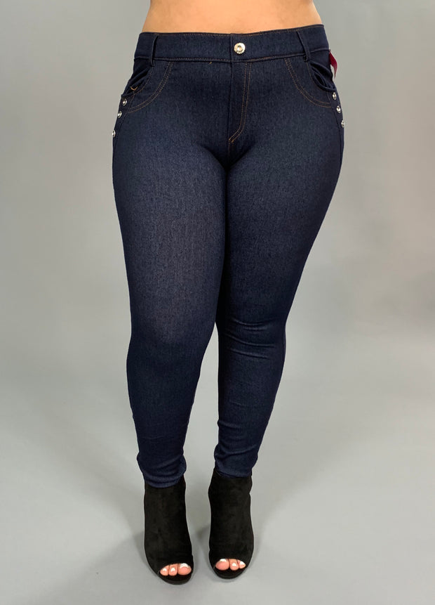 BT-R Navy Jeggings with Rhinestone Button Detail SALE!