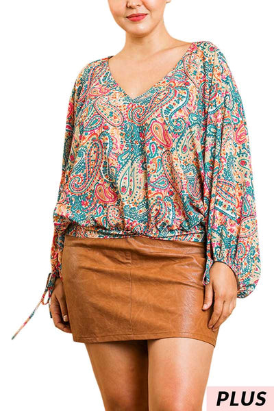 PLS-A {Summer Fair}  SALE!! Umgee Multi Color Paisley Print Top PLUS SIZE XL 1X 2X SALE!!
