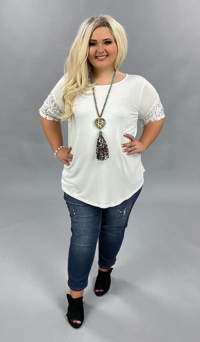 SSS-M (Always Pretty) SALE!! Ivory Tunic With Double Ruffle Lace Sleeves PLUS SIZE 1X 2X 3X