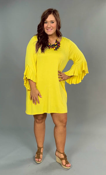 SQ- N {Amazing} Yellow with Cascading Sleeves & Pockets Dress