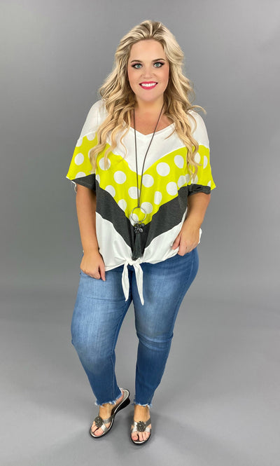 CP-N {Polka Dot Vibes} Ivory/Yellow/Grey Contrast Print Tunic PLUS SIZE 1X 2X 3X SALE!!