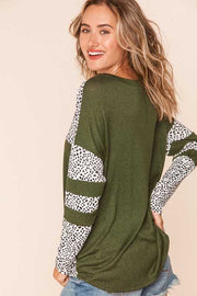 33 CP-B {Make Some Time} Olive & Leopard Tunic Plus Size 1X 2X 3X