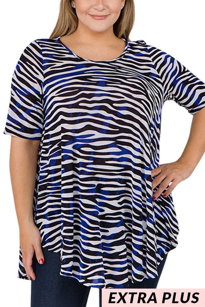 PSS-M/G {Boogie Fever} Royal Blue/Black Zebra Print Top EXTENDED PLUS SIZE 3X 4X 5X