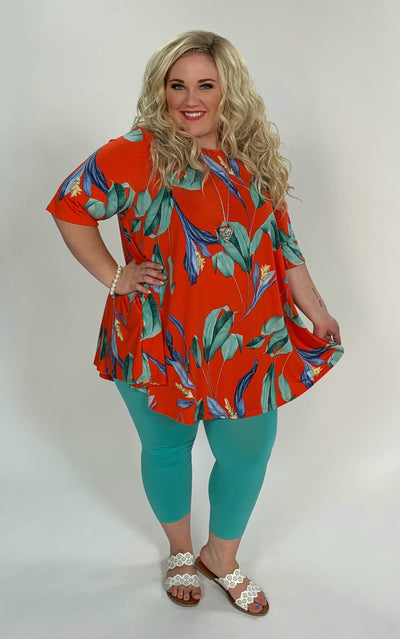 PSS-O {Walking On Sunshine} Orange Floral Top with Pockets Extended Plus