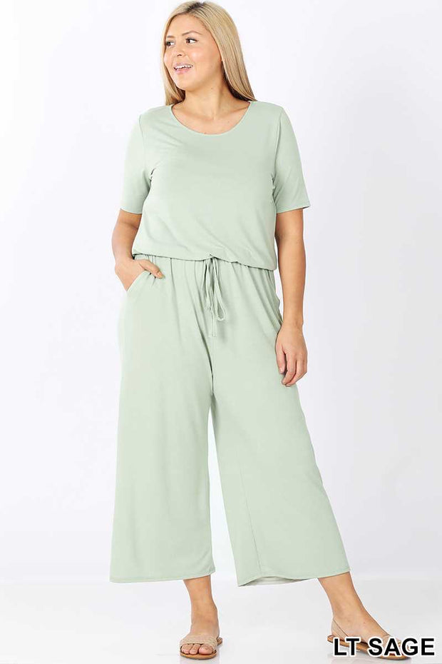 RP-G {Jump On In} Light Olive Jumpsuit with Tie Neck/Elastic Waist PLUS SIZE 1X 2X 3X SALE!!