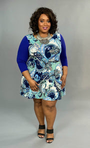 CP-F {La-La Land} Blue Paisley Print Dress with Side Pockets