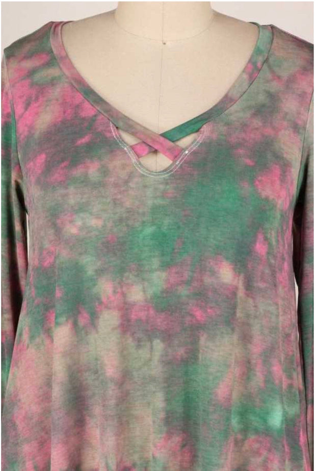 10-01 PLS-B {Gypsy Queen} Green Pink Tie Dye Dress PLUS SIZE XL 2X 3X