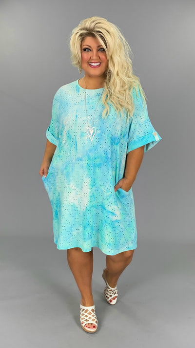 PSS-G{Eye For Beauty} Aqua Tie-Dye Eyelet Design Tunic PLUS SIZE 1X 2X 3X