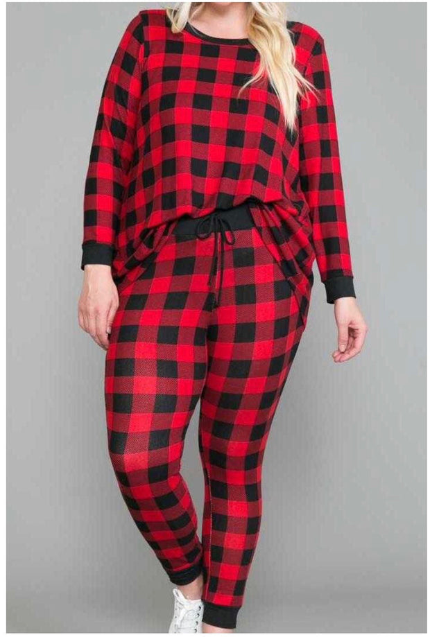 41 SET-E {Aren't You Plaid} SALE!!  Red Black Plaid Pajama Set CURVY BRAND EXTENDED PLUS SIZE 3X 4X 5X 6X