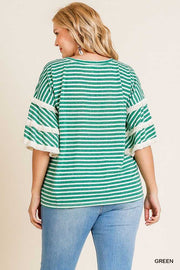 50 PQ-F (Striped Lines) Umgee Green & Ivory Striped Tunic w/Fringe Detail 1X 2X 3X Plus Size