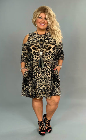 OS-S {Innovative Design} Open Sleeve Animal Print Dress