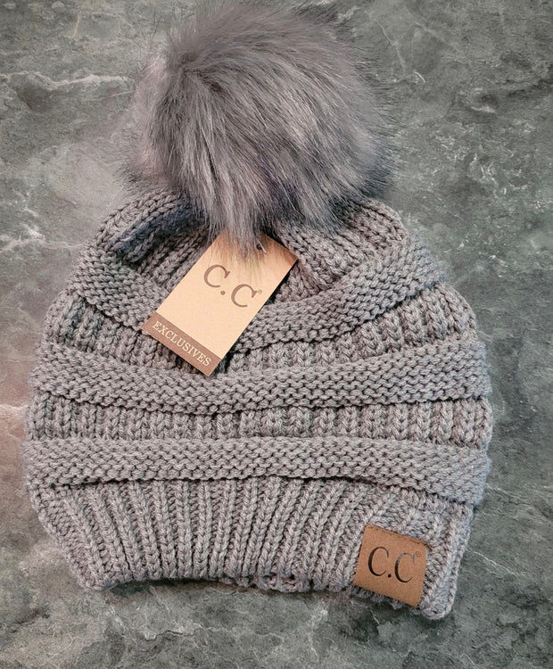 HAT-C.C. Beanie With Fur Ball Grey