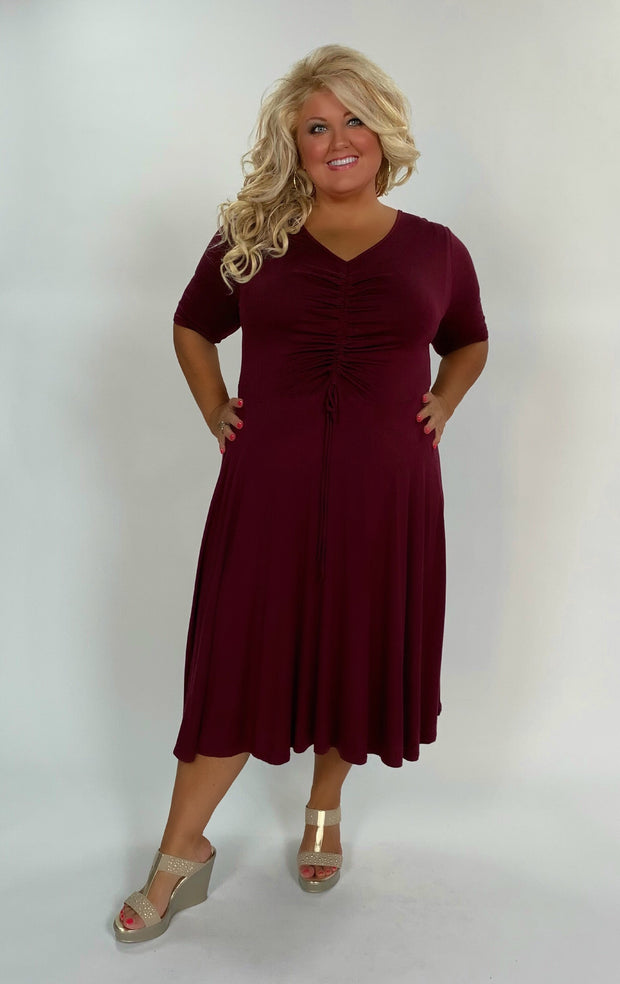 LD-L {Give You My Word} Wine Dress with Ruched Detail